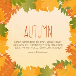 Free vector template with autumn leaves