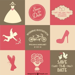 free vector wedding card 9 parts