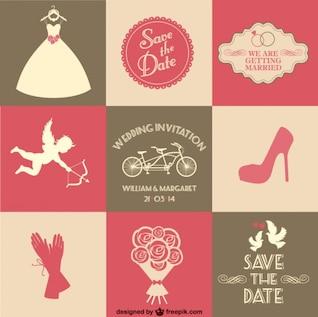 free vector wedding card 9 parts