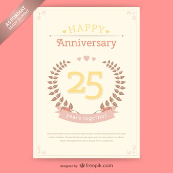Free vintage anniversary card template