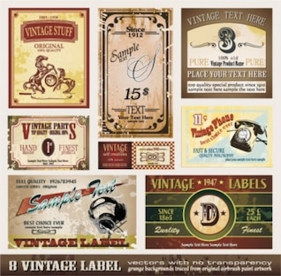 Free vintage old fashion poster card flyer sticker green brown orange red white  misc european classic bottle label  vector