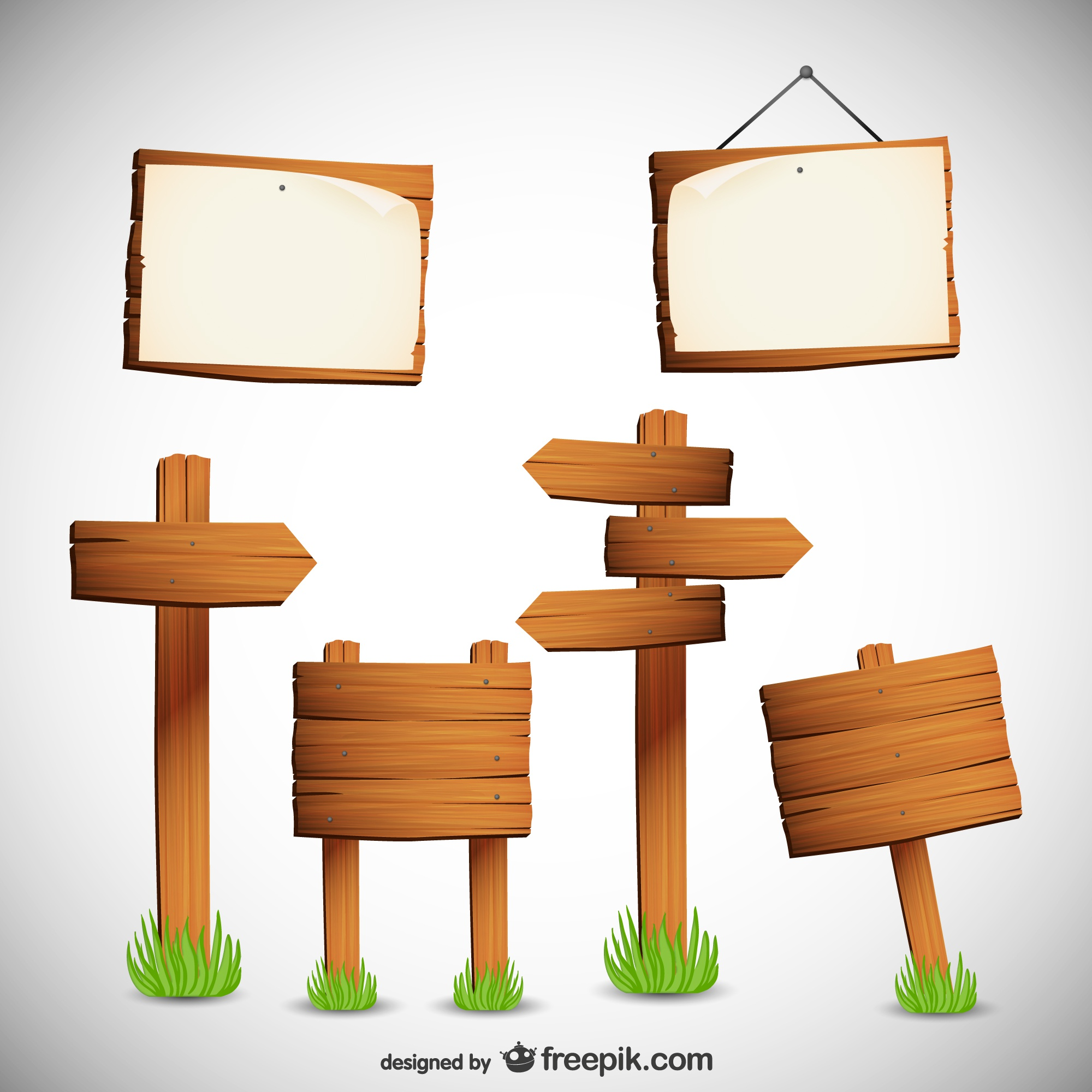 Free wooden sign boards vector collection