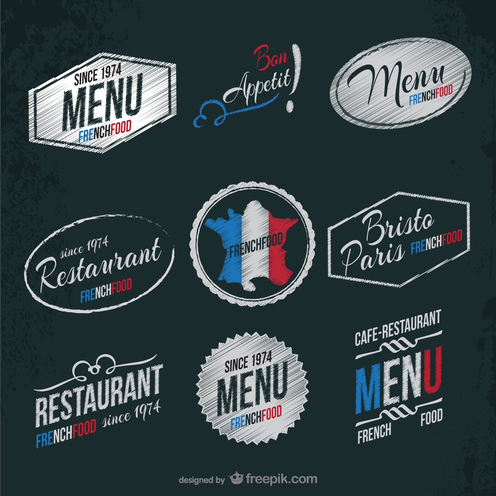 French restaurant stickers