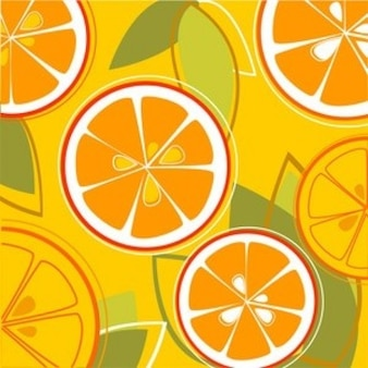 Fresh and colorful oranges seamless pattern in orange background