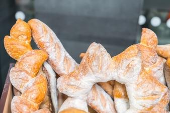 Fresh healthy natural bread food .