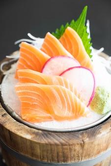 Fresh salmon with radish slices