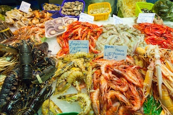 Fresh  seafood  on market counter