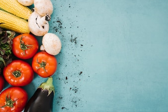 Fresh vegetable composition with space on right