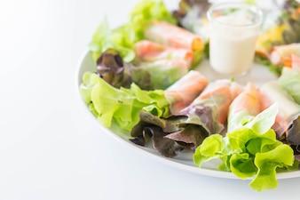 Fresh vegetable noodle spring roll, diet food, clean food, salad