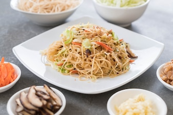 Fried noodles on plate