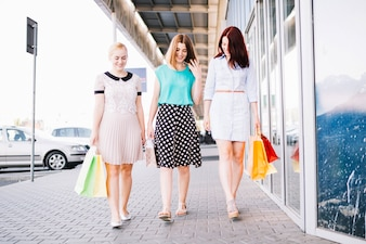 Friends going from shopping