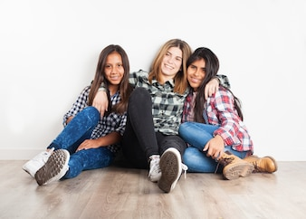 Friends sitting on the floor