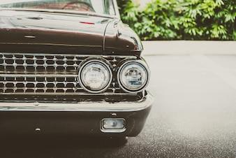 Front vintage chrome headlight auto