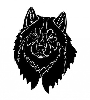 Frontal wolf head