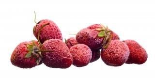 Frozen Strawberry , closeup