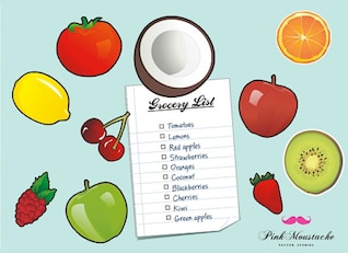Fruit fridge magnets vector set