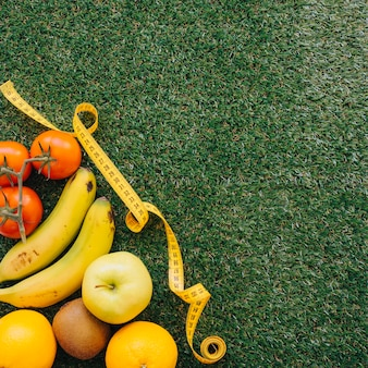 Fruits and tape measure