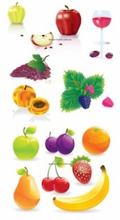Fruits quality vectors. Wine, grapes, banana, apples, orange.