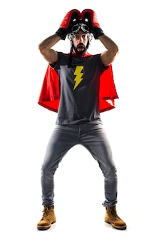 Frustrated posing cape mask play