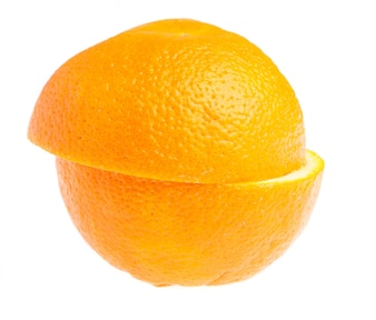Full orange cut in half