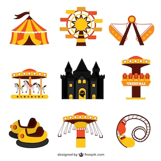 Funfair park graphic elements