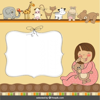 Funny baby with teddy bear template