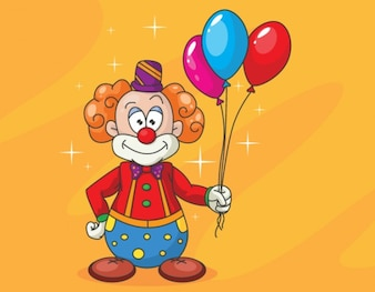 Funny clown with colorful balloons