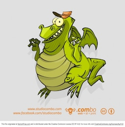 Funny dragon cartoon character