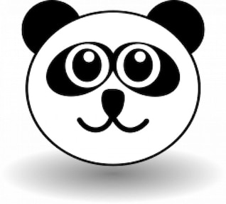 Funny panda face black and white
