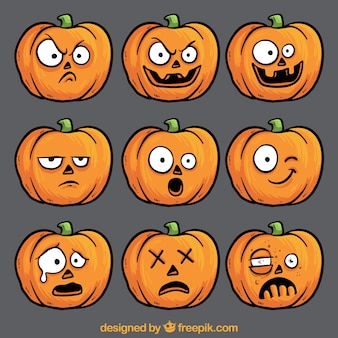 Funny pumpkin faces collection