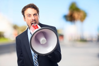 Furious entrepreneur with a bullhorn