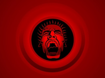 Furious man on red background
