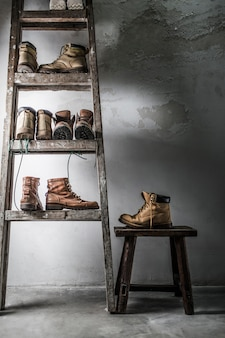 Furniture with different pairs of boots