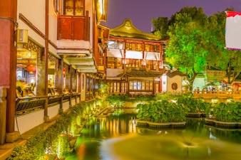 Fuzzy dusk street shanghai tourism china