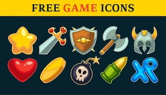 Game icons and weapons vector set