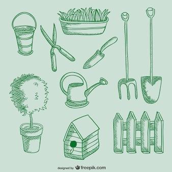 Gardening tools drawings