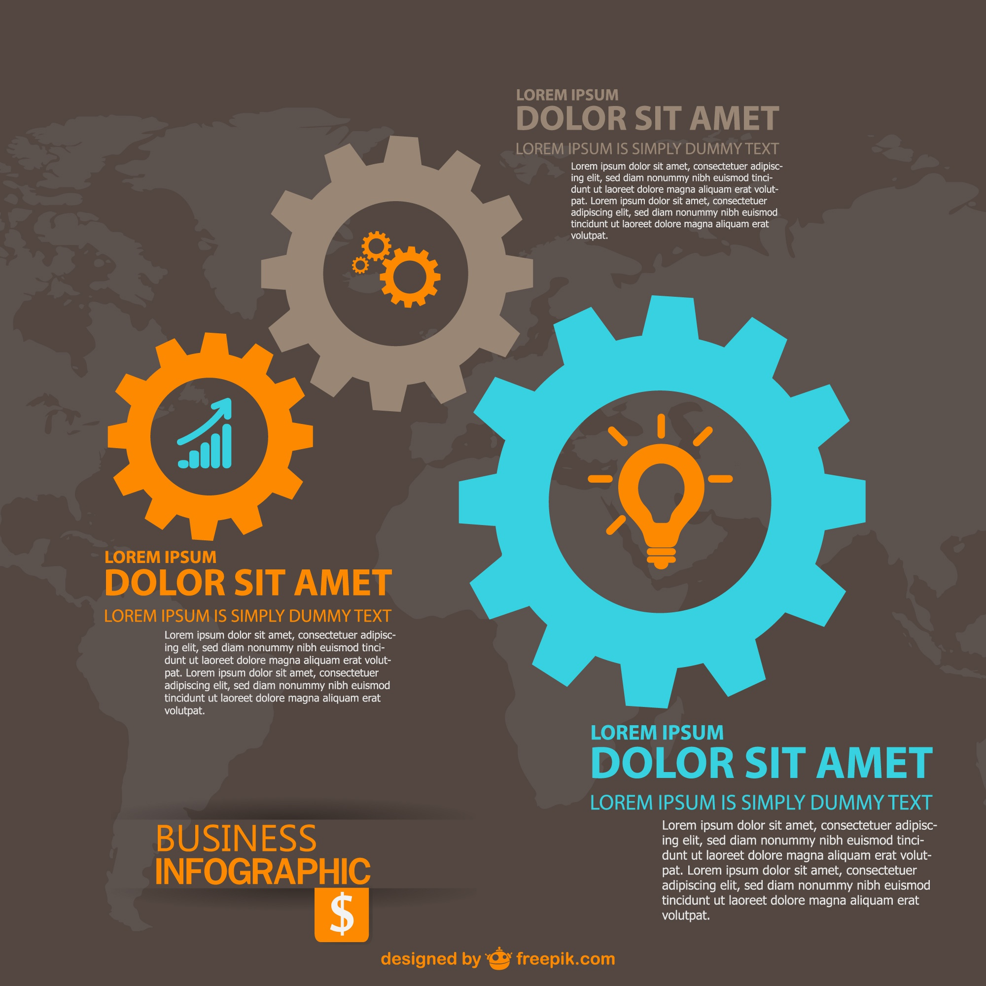 Gear abstract global business infographic