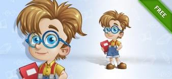 Geek boy posing cartoon vector