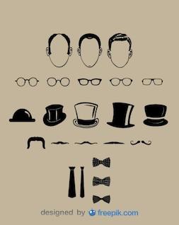 Gentleman Classic Look Vector Elements Collection