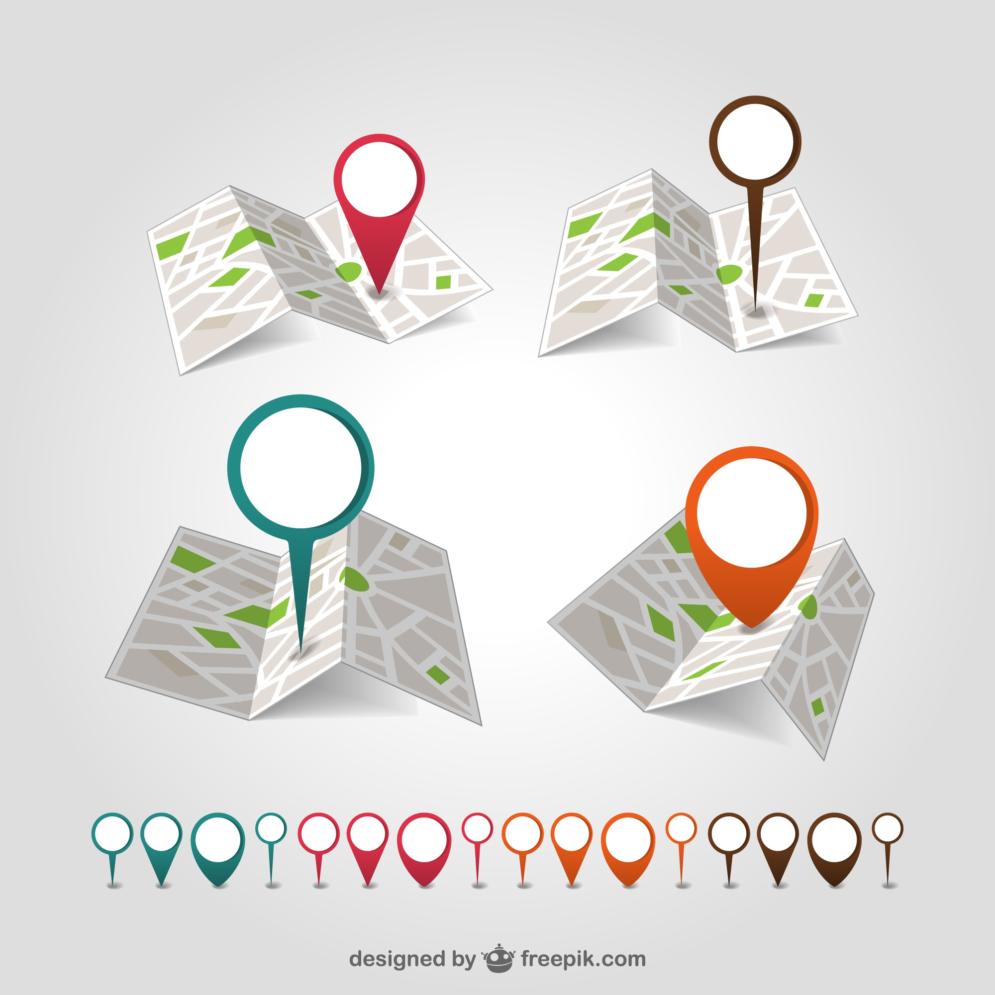 Geolocation map pin vector set