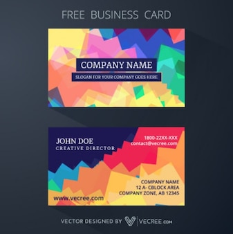 Geometric colourful business card template