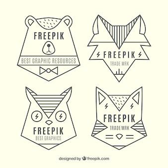 Geometrical animal logos
