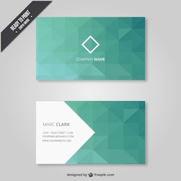 Geometrical business card in green tones