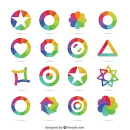 Geometrical icons in rainbow tones