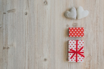 Gift box with polka dots, heart box and white hearts