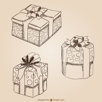 Gift boxes drawings