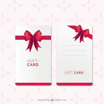 Gift card template with red ribbon