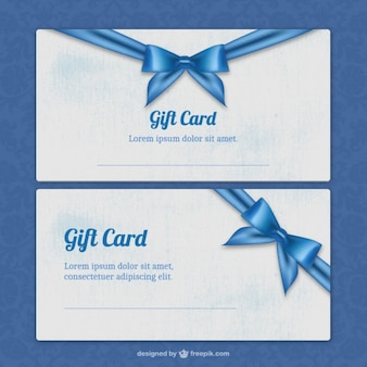 Gift card templates with blue ribbon