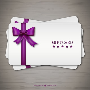 Gift cards with purple ribbon