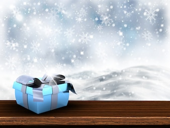 Gift open in the snow